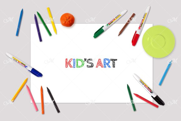 Kid's Art Mock-up. PSD in Product Mockups