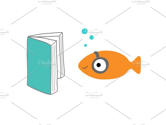 Fish reading a book in Illustrations