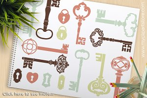 Skeleton Keys Silhouettes Clipart
