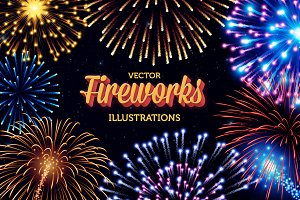Vector Fireworks Illustrations