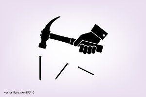 HAMMER AND NAILS ICON