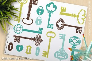 Skeleton Keys (Blue) Clipart