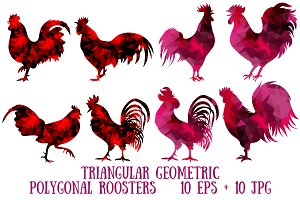 Triangular polygonal roosters.