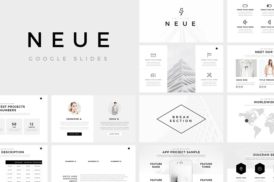 Neue Minimal Google Slides Template ~ Google Slides