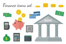 Flat colorful finance icons