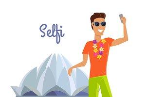 Man Selfie on Summer Vacation