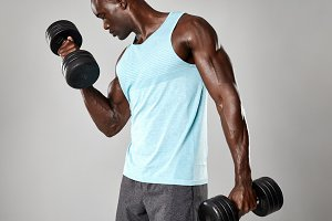 Fit young black man exercising
