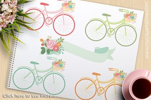 Spring Bicycles (2) - Vector Clipart