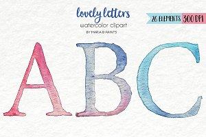 Watercolor Clip Art - Alphabet