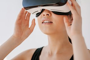 Female wearing virtual reality