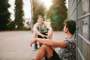 Streetball players taking break