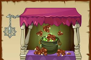 Magic potion with ingredients bears