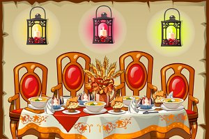 Ceremonial festive table with food