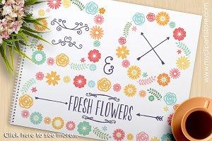 Spring Floral Wreaths, Frames Clipar