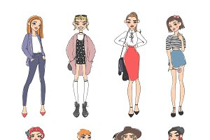Vector fashion girls dressed