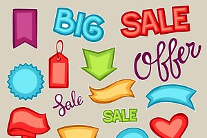 Set of sale banners.