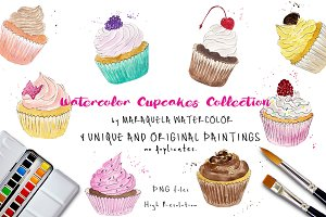 Watercolor Cupcakes Clip Art Pack