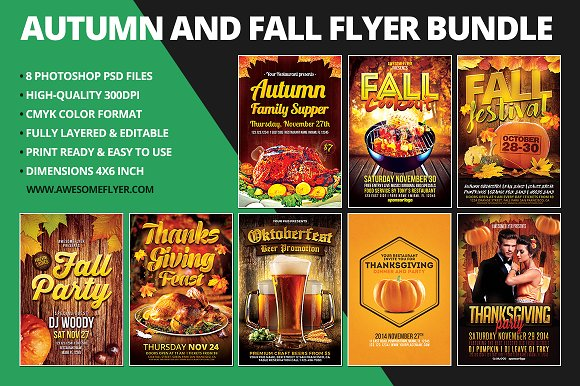 autumn fall flyer template bundle flyer templates creative market