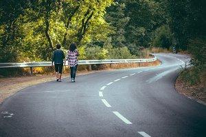 Women walking on the road