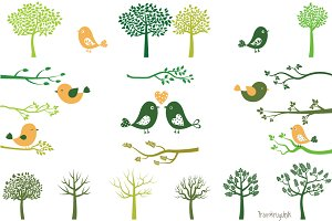 Green tree silhouettes and birds