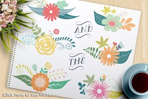 Spring Floral Clusters Clipart