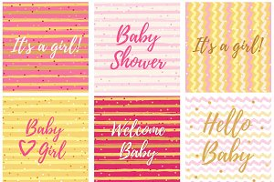 Baby Shower Girl vector set.
