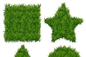 Green grass vector banners set