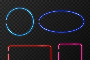 Neon frames vector set
