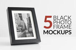 5 Black Photo Frame Mockups