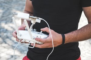 Man with drone controller in hands#2