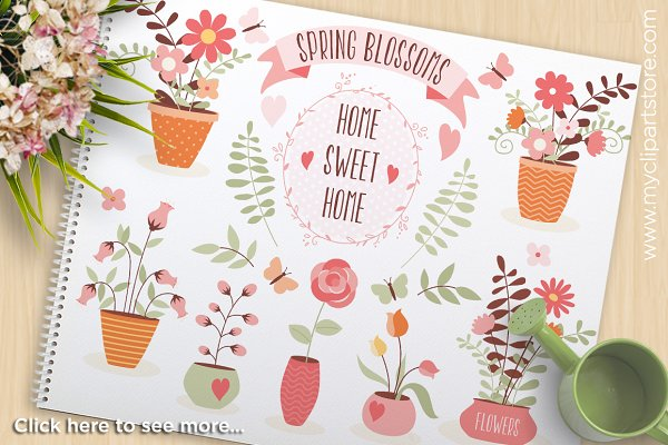 Home Sweet Home Flower Pots Clipart