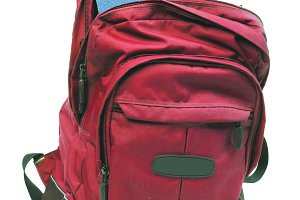 Light red backpack with books