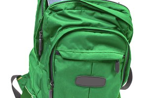 Green backpack with books