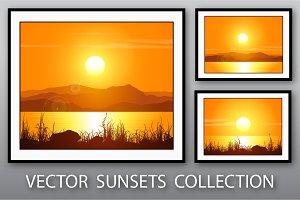 Sunset Vector Landscapes Set