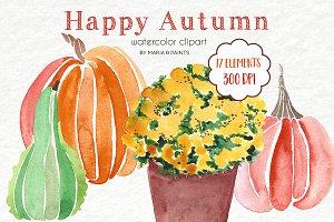 Watercolor Clip Art - Pumpkins, Mums