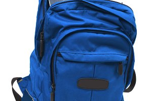 Blue backpack with books