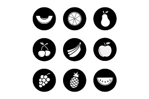Fruit. 9 icons set. Vector