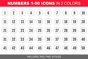 Number 1-50 Icons in 2 Colors