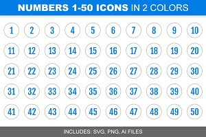 Blue Number Icons 1-50, in 2 Colors