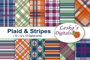 Plaid and Stripes Digital Paper