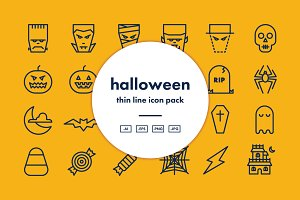 Halloween Thin Line Icon Pack