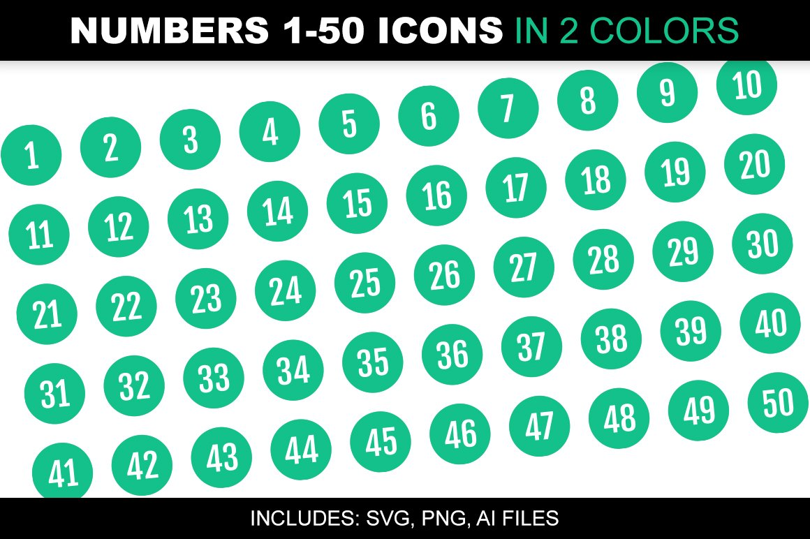 Number 1-50 Icons in 2 Green Colors ~ Icons ~ Creative Market