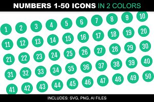 Number 1-50 Icons in 2 Green Colors