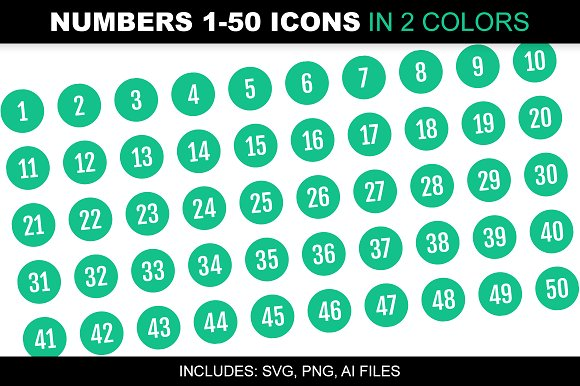 Number 1 50 Icons In 2 Green Colors