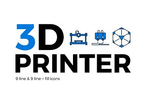 3D printer line and line+fill icons