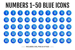 UX Numbers 1-50 Icons in BLUE