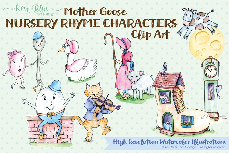 Watercolor Mother Goose Characters