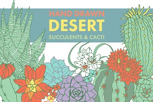 Hand Drawn Desert Succulents & Cacti