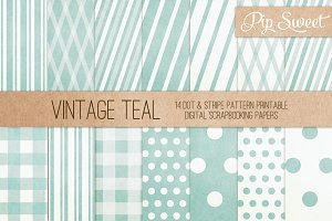 Vintage Teal 14 Pattern Set