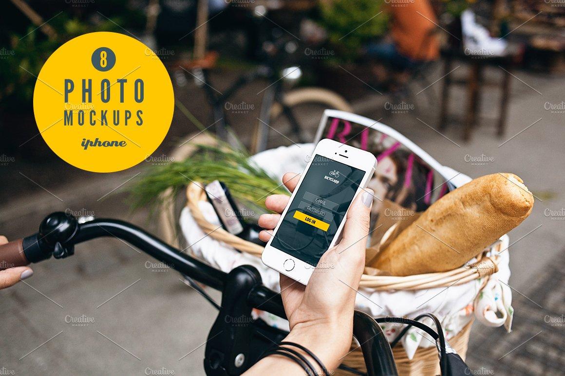 6 poster design photo mockups 57079 - Iphone 5s Bike 8 Photo Mockups Product Mockups On Creative Market